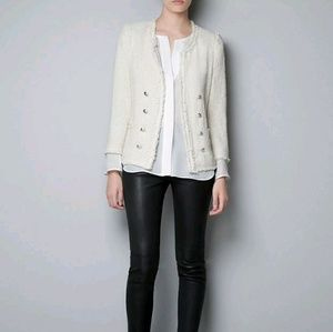 Zara cream tweed blazer size XL